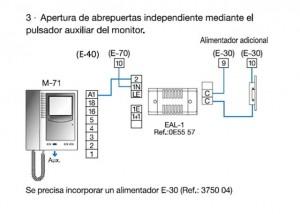 Apertura 2 puerta Videoportero Tegui botón auxiliar