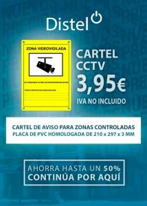 Cartel de aviso CCTV para zonas controladas